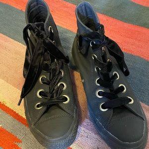 Leather+Velvet Converse Hightops